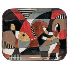Abstract and Figural Pottery Artwork Tray
