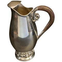 Midcentury Sterling Wood Handle Water Pitcher Manner George Jensen Grapes