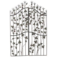"Pair of French Early 20th Century Painted Wrought-Iron ""Grapevine"" Gates"