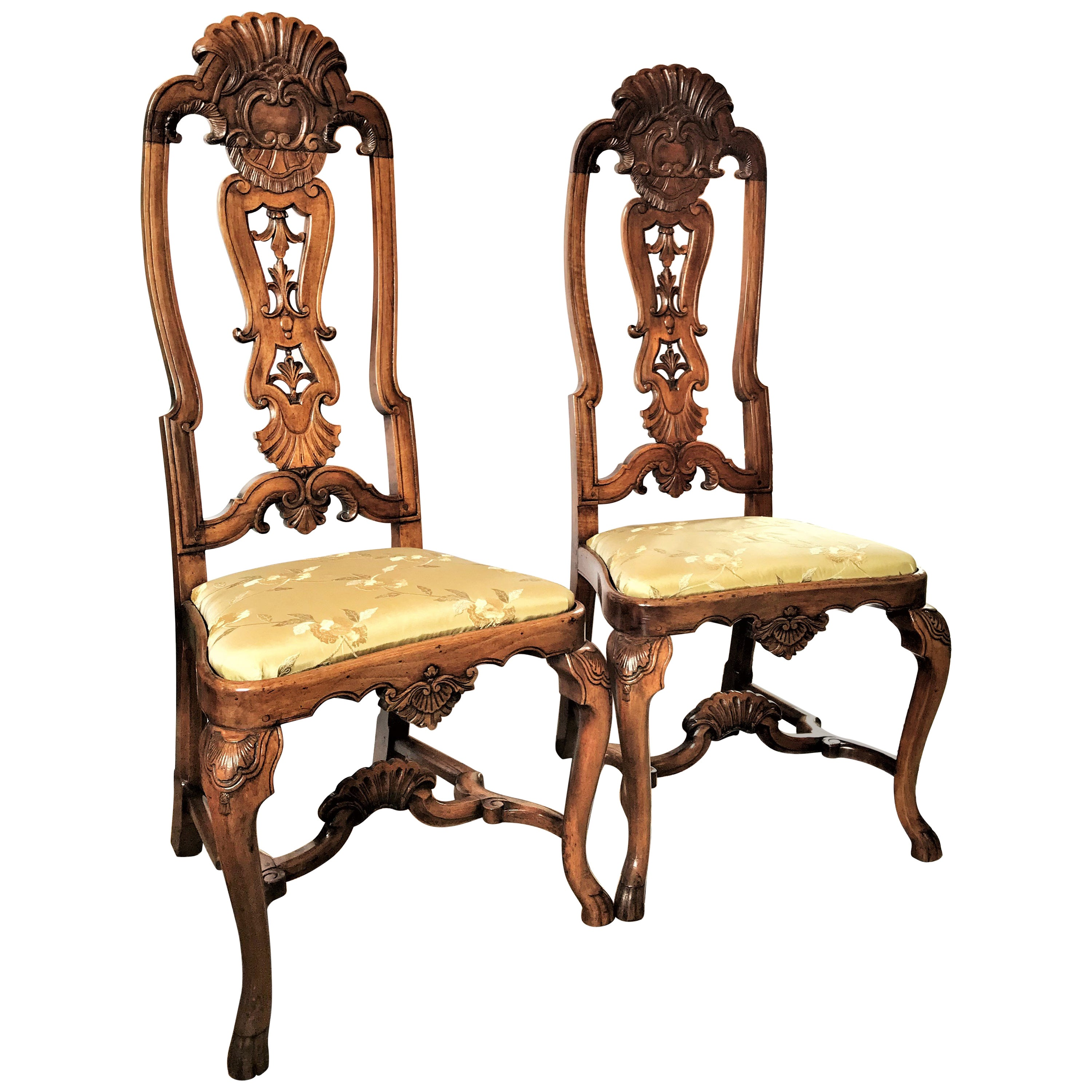 Pair 18th Century Portuguese Colonial Carved Palisander Side Chairs Rococo LA CA
