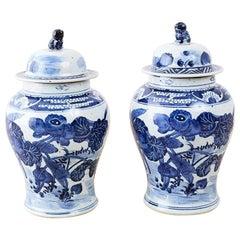 Paar blau-weiße chinesische Ingwerdosen mit Blumenmuster
