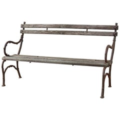 19th Century English Faux Bois Iron Wood Garden Bench