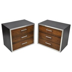 Mid-Century Modern Rosewood Chrome 3-Drawer Nightstands Pair after Milo Baughman