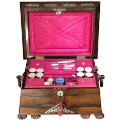 Regency Rosewood Sarcophagus Shape Sewing Box with Contents, Musical Works, 1825