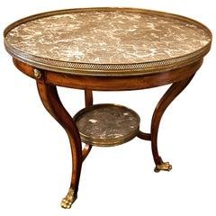 Louis XVI Style Marble-Top Mahogany Gueridon Table, circa 1940