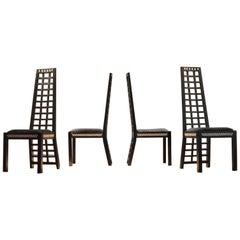 1930s Mackintosh Style Ebonized Wood Chairs