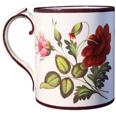 English Creamware Mug, Well Painted with Large Flower Groups, circa 1800