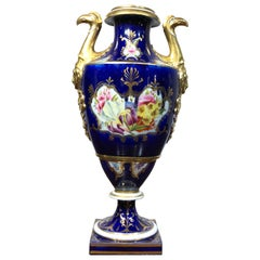 Large Coalport Vase, Birds Head Handles, Flowers and Scale Blue, circa 1805