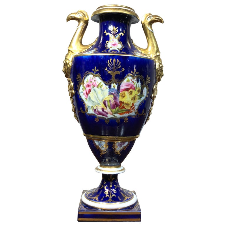 Large Coalport Vase, Birds Head Handles, Flowers and Scale Blue, circa 1805 For Sale