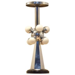 1960s Sputnik Black and Chrome Pedestals Stand Table Lamp
