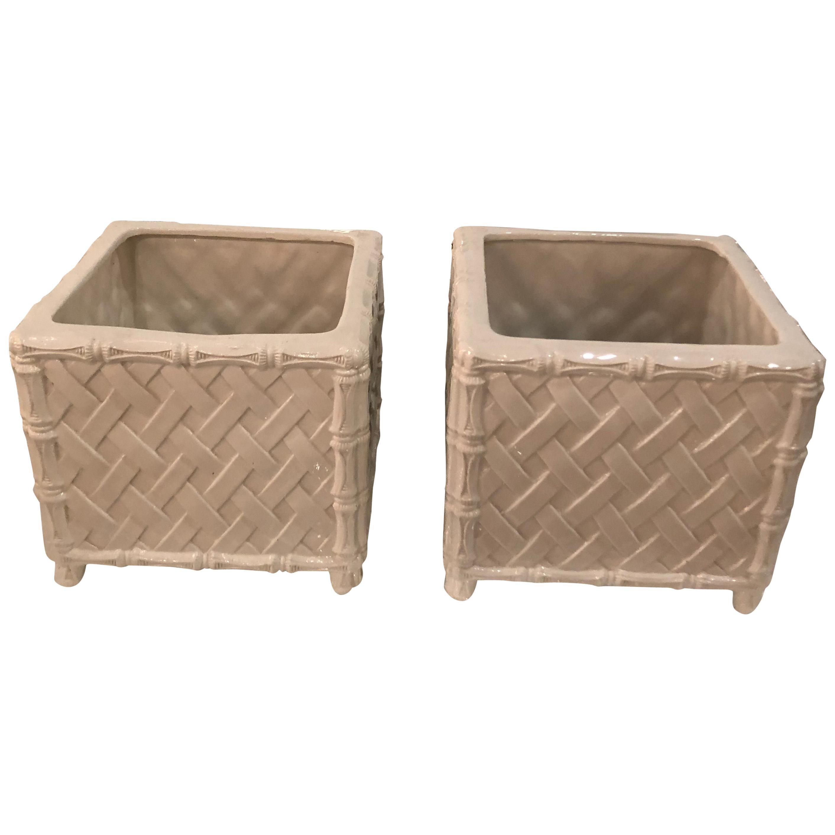 Pair of Vintage Italian Nora Fenton Numbered Bamboo Ceramic Planters Pots