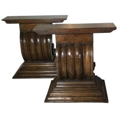 Pair of Antique Hand Carved Wood Console Or Table Base.