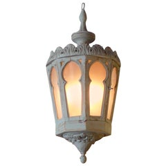 French Vintage Painted Wood Lantern with 8 Frosted Glass Panels with 1 Door.
