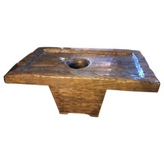 Late 19th Century Indonesian Rice Mortar Statement Table