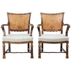 Pair of 1930s Art Deco Burr Birch Armchairs