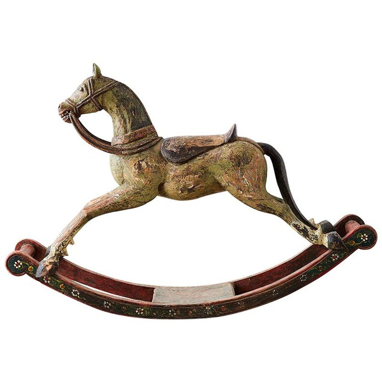 19th Century Romanian Polychrome Wooden Rocking Horse For Sale