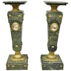 Pair of Louis XV XVI French Style Green Marble Pedestal Stands, Bronze Ormolu
