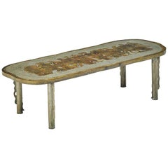 "Acid Etched and Bronze ""Romanesque"" Coffee Table by Philip and Kelvin LaVerne"