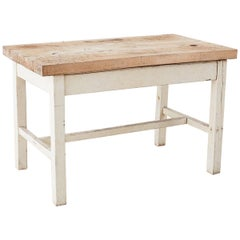 Rustic American Farmhouse Butcher Block Work Table