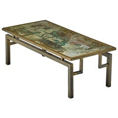 """Acid-Etched and Patinated Bronze """"Chan"""" Coffee Table, Philip and Kelvin Laverne"""
