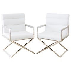Pair of Modern Chrome and White Directors Chairs