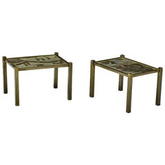 "Pair of Acid Etched and Patinated Bronze ""Tao"" Side Tables by Philip and Kelvin"
