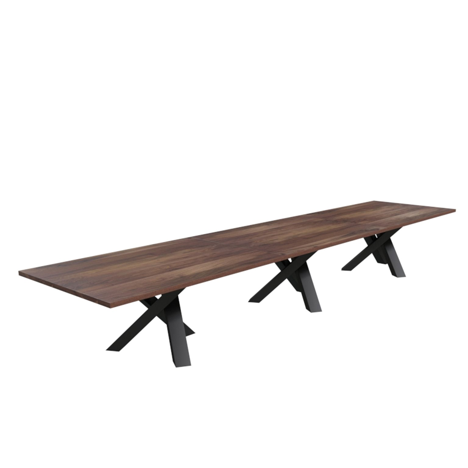 """Custom """"Campfire"""" Conference Table Made from Solid Wood with Metal Accents"""