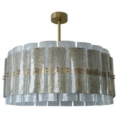 Large Glass Blown Drum Chandelier in Taupe