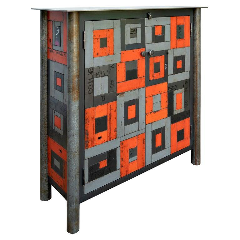 Two Door Housetop Gee's Bend Quilt Cupboard - Functional Art Steel Furniture  For Sale