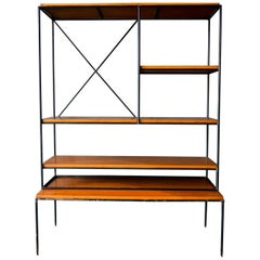 Paul McCobb Planner Group Iron and Maple Shelving Unit or Room Divider