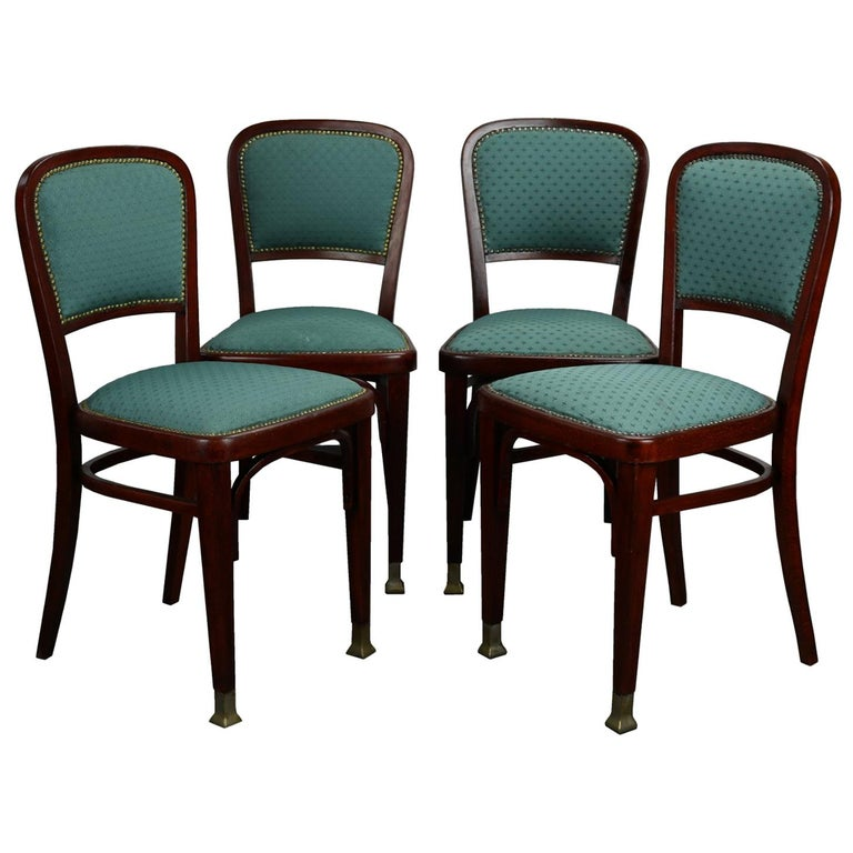 Set of Four Chairs by Marcel Kammerer for Thonet, circa 1910 For Sale