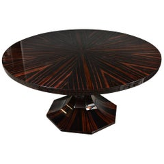 Art Deco French Round Dining Room Table in Macassar