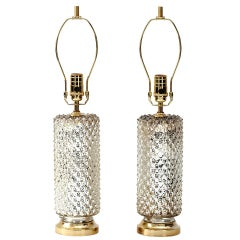 1970s Mercury Glass Honeycomb Cylinder Lamps