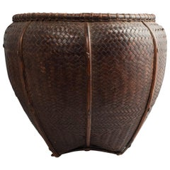 Early to Mid-20th Century Tribal Bamboo Collecting Basket, Attapeu Area, Laos