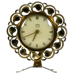 Beautiful Mid-Century Modern Brass Table Clock Battery Operated