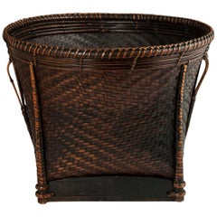 Early to Mid-20th Century Bamboo Collecting Basket, Khmu People, Vietnam or Laos