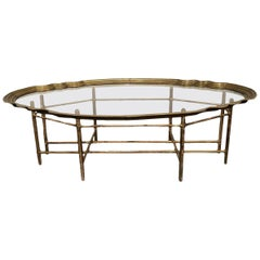 1940s Asian Antique Gilded Glass Coffee Table with Bamboo Base
