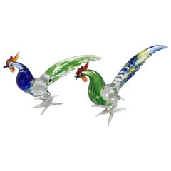 Pair of Artistic Roosters in Multi-Color Murano Glass, Italy, 1970s