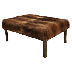 Ottoman Footrest Upholstered in Russian Muskrat Hide