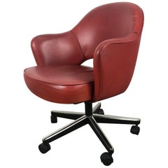 Classic Leather Knoll Executive Swivel Armchair, Eero Saarinen