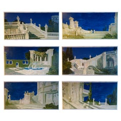 Set of 6 Paintings on Board Study for a Classic Italian Garden