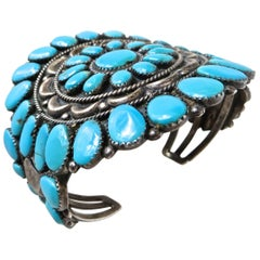 Navajo Cluster Cuff Bracelet, Sterling and Turquoise, Artist, Juliana Williams