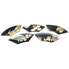 Set of 5 Japanese Black Lacquer Fan Shaped Serving Plates with Seasonal Designs
