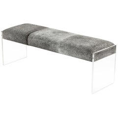 Le Grey Bench Upholstered in Natural Hide with Italian Lucite Base