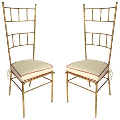1970s Italian Gilt Iron High Back Chairs in the Manner of Baguès