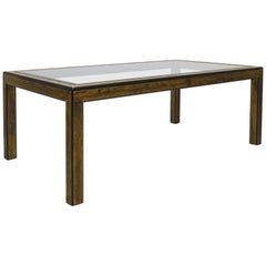 Bernhard Rohne for Mastercraft Etched Brass Dining Table with Beveled Glass