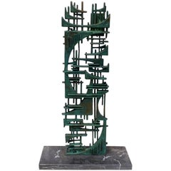 1980s Brutalist Bronze Sculpture by Gunther Gerzo, Signed and Numbered, Mexico