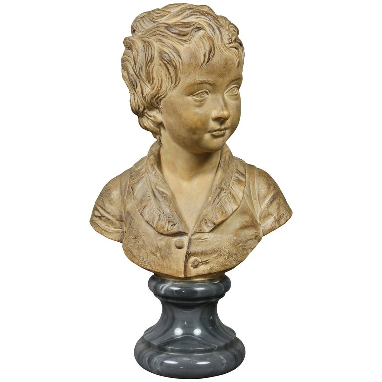 Terracotta Bust of a Young Boy by Houdon For Sale