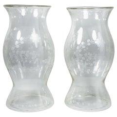 Pair of Cut Glass Hurricane Shades