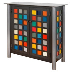 Jim Rose Two-Door Multicolor Block Quilt Cupboard, Steel Art Furniture